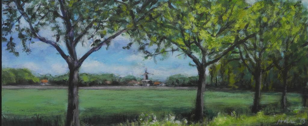 """buitenschilderen: """"zicht op de Noordstar"""", acryl op mdf, maat 15x40 (Adri 2013)"""